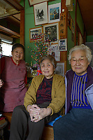 "Three former ama (l-r): Kinuko Kada, Tsurue Kameda and Ryoko Amatsu. Onjuku, Japan, April 16, 2013.  Onjuku is a small fishing village about 80km south-west of Tokyo. It is famous for surfing beach, ""ama"" free divers and association with the famous children's song ""Tsukinosabaku""."