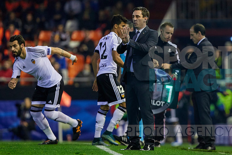 Gary Neville head coach of Valencia CF gives instructions to his players - UEFA Champions League Group H - Valencia CF vs Olympique Lyonnais - Mestalla Stadium - Valencia- Spain - 09th December 2015 - Pic David Aliaga/Sportimage