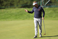 Joost Luiten (NED) sinks his putt on the 17th green during Thursday's Round 1 of the 2017 Omega European Masters held at Golf Club Crans-Sur-Sierre, Crans Montana, Switzerland. 7th September 2017.<br /> Picture: Eoin Clarke | Golffile<br /> <br /> <br /> All photos usage must carry mandatory copyright credit (&copy; Golffile | Eoin Clarke)