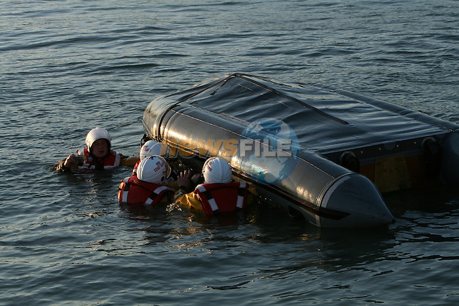 Drogheda Coast Guard D-class capsize drill..Photo: Newsfile/Fran Caffrey.