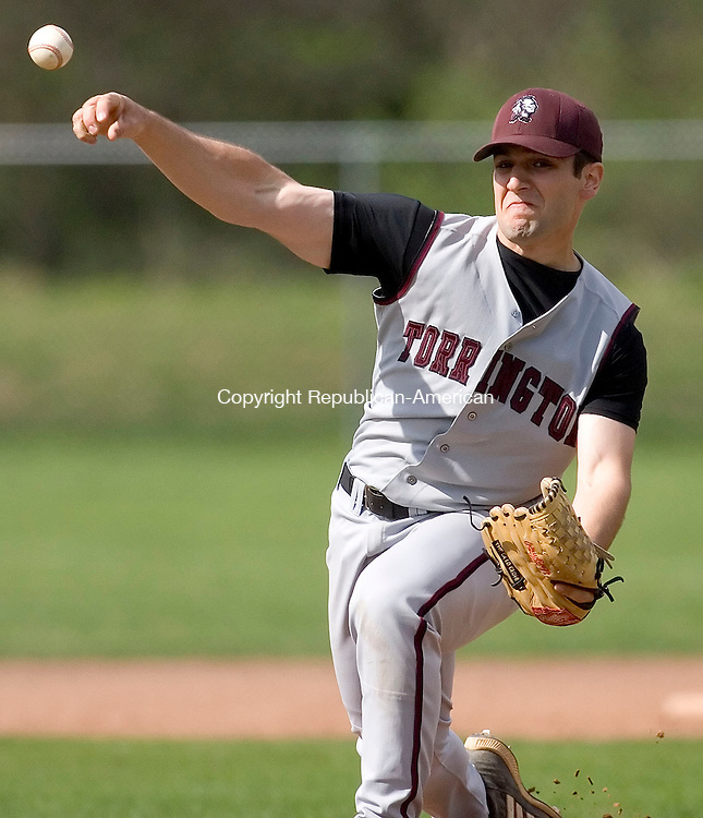 WATERTOWN, CT- 06 MAY 2008- 050608JT09-<br /> Torrington pitcher Doug Blake during Tuesday's game against Watertown at DeLand Field. Watertown won, 4-2.<br /> Josalee Thrift / Republican-American