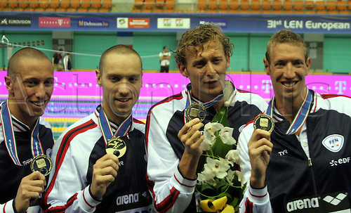 21.05.2012.  Debrecen Hungary  Len European Swimming Championships  Mens 4x100m Frestyle Final France Golden Medalists Jeremy Stravius with Amaury Leveaux, Alain Bernard with Frederick Bousquet