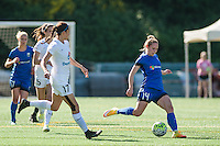 Seattle, WA - Sunday, May 1, 2016: Seattle Reign FC forward Manon Melis (14) takes a shot during the first half of a National Women's Soccer League (NWSL) match at Memorial Stadium. Seattle won 1-0.