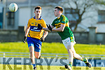 Eddie Horan Kerry in action against Ciaran O'Donoghue Clare in the Munster Minor Quarter Final at Austin Stack Park Tralee on Wednesday night.