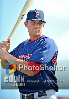 8 March 2012: Boston Red Sox infielder Will Middlebrooks awaits his turn in the batting cage prior to a Spring Training game against the St. Louis Cardinals at Roger Dean Stadium in Jupiter, Florida. The Cardinals defeated the Red Sox 9-3 in Grapefruit League action. Mandatory Credit: Ed Wolfstein Photo