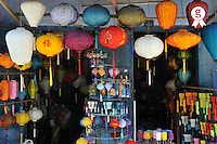 Lanterns hanging in shop (Licence this image exclusively with Getty: http://www.gettyimages.com/detail/83154213 )