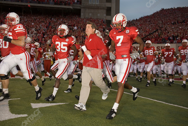 University of Nebraska Head Football Coach Bill Callahan enters the field before The University of Nebraska vs. The University of Southern California football game. Lincoln, Nebraska, September 15, 2007.