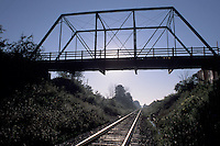 Truss bridge over railway line
