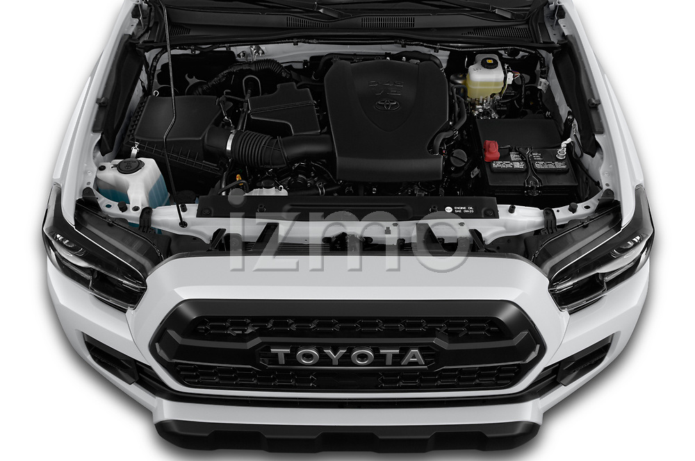 Car stock 2019 Toyota Tacoma TRD Pro 4 Door Pick Up engine high angle detail view