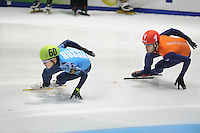 SHORTTRACK: DORDRECHT: Sportboulevard Dordrecht, 24-01-2015, ISU EK Shorttrack, Victor AN (RUS | #60), Sjinkie KNEGT (NED | #51), ©foto Martin de Jong