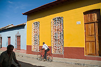 Cyclists in the streets of Trinidad, Sancti Spiritus, Cuba.