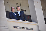 AUSTRALIA, Canberra : French President Francois Hollande (L) and Australian Prime Minister Tony Abbott (R) stop to speak at the Australian War Memorial, Canberra on November 19, 2014. Hollande is on a two-day state visit to Australia following the G20 Summit over the weekend. AFP PHOTO / MARK GRAHAM