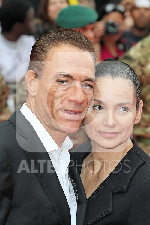 LONDON - AUGUST 13: Jean-Claude Van Damme; Gladys Portugues attended the UK Film Premiere of 'The Expendables 2', Leicester Square, London, UK. August 13, 2012. (Photo by Richard Goldschmidt) /NortePhoto.com.... **CREDITO*OBLIGATORIO** *No*Venta*A*Terceros*..*No*Sale*So*third* ***No*Se*Permite*Hacer Archivo***No*Sale*So*third*