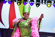 Washington, DC - June 10, 2018: Drag entertainer Ella Fitzgerald performs at the 2018 Capitol Pride concert in Washington, D.C. June 10, 2018.  (Photo by Don Baxter/Media Images International)