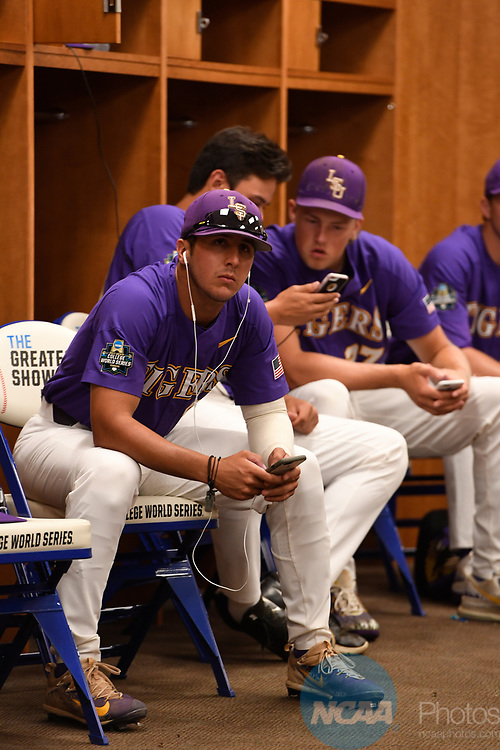 OMAHA, NE - JUNE 26: Louisiana State University players prepare in the locker room before they take on the University of Florida during the Division I Men's Baseball Championship held at TD Ameritrade Park on June 26, 2017 in Omaha, Nebraska. The University of Florida defeated Louisiana State University 4-3 in game one of the best of three series. (Photo by Jamie Schwaberow/NCAA Photos via Getty Images)