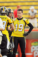 July 12, 2008; Hamilton, ON, CAN; Hamilton Tiger-Cats safety Sandy Beveridge (19) prior to the CFL football game against the Saskatchewan Roughriders at Ivor Wynne Stadium. The Roughriders defeated the Tiger-Cats 33-28. Mandatory Credit: Ron Scheffler.