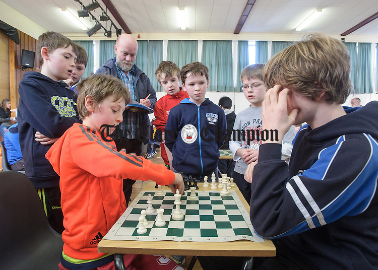 Dylan Murphy an Colm McElwain competing at the Clare Community games chess county finals in St Flannan's college, Ennis. Photograph by John Kelly.