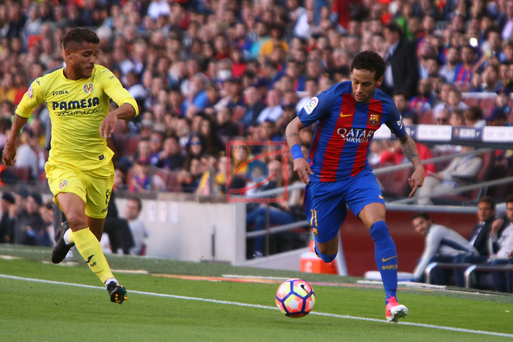 League Santander 2016/2017. Game: 36.<br /> FC Barcelona vs Villarreal CF: 4-1.<br /> Jonathan Dos Santos vs Neymar Jr.