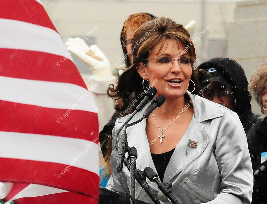 Sarah Palin addresses a Tea Party rally at the State Capitol in Madison, Wisconsin on Saturday, April 16, 2011
