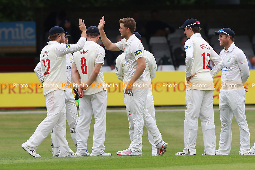 Craig Meschede of Glamorgan (C) is congratulated by his team mates after taking the wicket of Nick Browne - Essex CCC vs Glamorgan CCC - LV County Championship Cricket at the Essex County Ground, Chelmsford, Essex - 12/07/15 - MANDATORY CREDIT: Gavin Ellis/TGSPHOTO