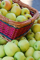 Basket of apples at fruit stand in Hood River Valley, Oregon