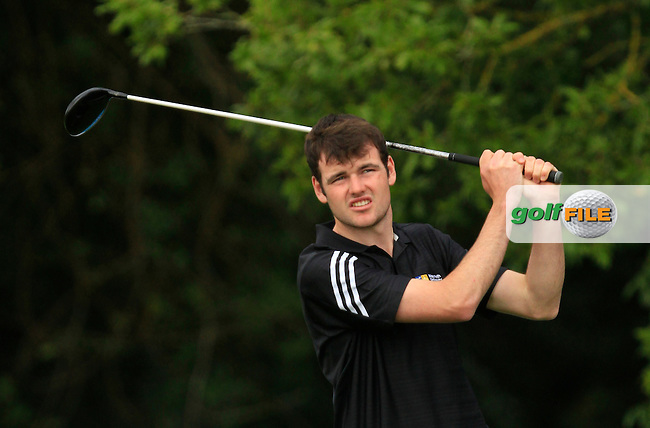 Jake Whelan (MU) on the 1st tee during the Final of the AIG Senior Cup at the AIG Cups &amp; Shields National Finals in Carton House on the 19/09/15.<br /> Picture: Thos Caffrey | Golffile