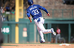 Los Angeles Dodgers' Scott Van Slyke runs the bases after hitting a home run against the Arizona Diamondbacks in a spring training game in Glendale, Ariz., on Friday, March 24, 2017.<br /> Photo by Cathleen Allison/Nevada Photo Source