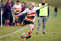 Andrew Mackenzie kicks for goal during the Otago 1st XV secondary schools rugby union match between John McGlashan College and Otago Boys' High School at John McGlashan College in Dunedin, New Zealand on Saturday, 4 July 2020. Photo: Joe Allison / lintottphoto.co.nz