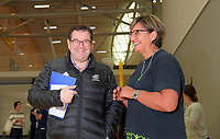 The Minister of Sport, Grant Robertson and P.I.C netball coach Waimarama Taumaunu. Value Of Sport Launch at ASB Sports Centre in Wellington, New Zealand on Saturday, 17 March 2018. Photo: Dave Lintott / lintottphoto.co.nz