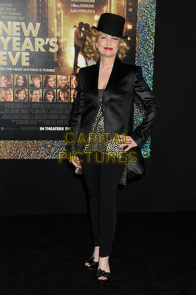 "Katherine Fugate.The World Premiere of ""New Year's Eve' held at The Grauman's Chinese Theatre in Hollywood, California, USA..December 5th, 2011.full length jacket trousers gold top black top hat red lipstick .CAP/ADM/BP.©Byron Purvis/AdMedia/Capital Pictures."