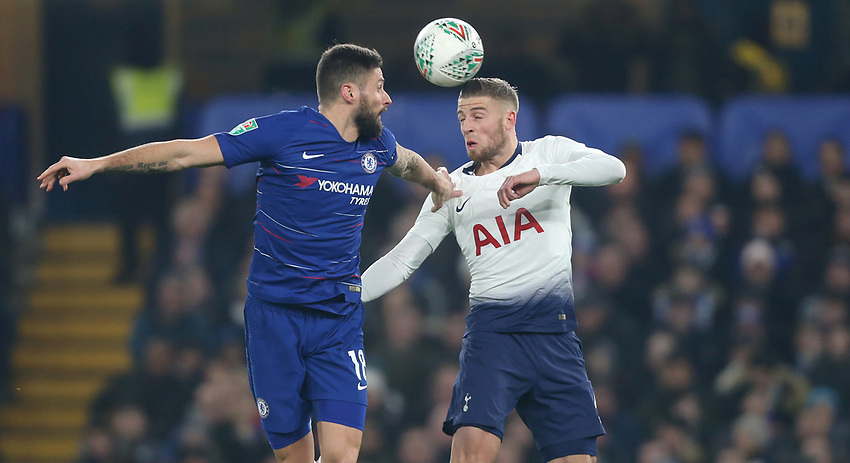Tottenham Hotspur's Toby Alderweireld and Chelsea's Olivier Giroud<br /> <br /> Photographer Rob Newell/CameraSport<br /> <br /> The Carabao Cup Semi-Final Second Leg - Chelsea v Tottenham Hotspur - Thursday 24th January 2019 - Stamford Bridge - London<br />  <br /> World Copyright © 2018 CameraSport. All rights reserved. 43 Linden Ave. Countesthorpe. Leicester. England. LE8 5PG - Tel: +44 (0) 116 277 4147 - admin@camerasport.com - www.camerasport.com
