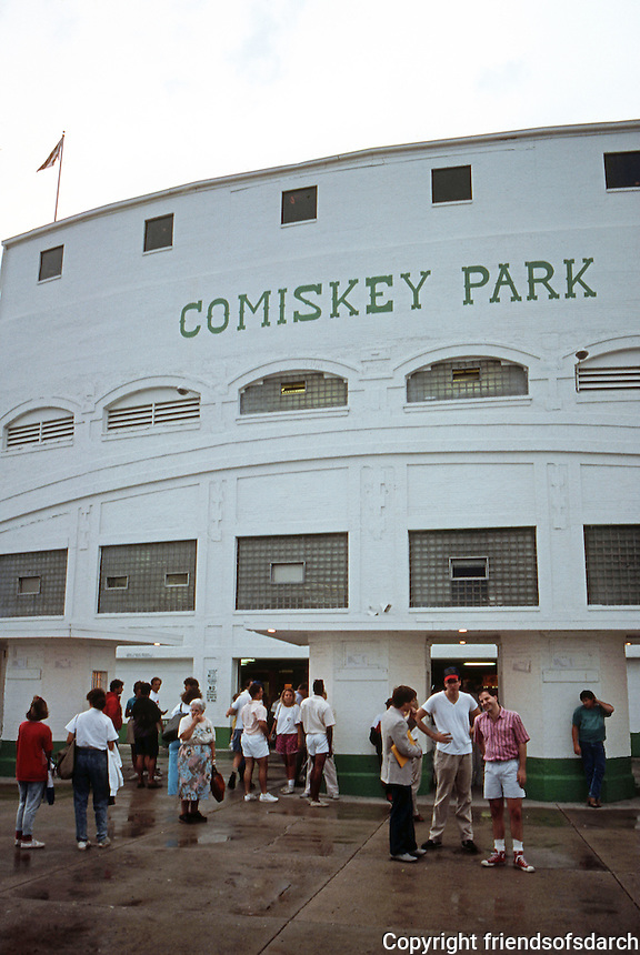 Ballparks: Chicago Comiskey Park. Outside before night game, 1988.