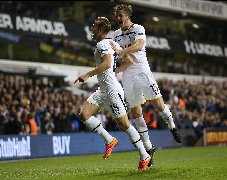 Tottenham Hotspur's Harry Kane celebrates his goal with Tottenham Hotspur's Eric Dier<br /> <br /> Photographer Kieran Galvin/CameraSport<br /> <br /> Football - UEFA Europa League First Round Group C - Tottenham Hotspur v Asteras Tripolis - Thursday 23rd October 2014 - White Hart Lane - London <br /> <br /> &copy; CameraSport - 43 Linden Ave. Countesthorpe. Leicester. England. LE8 5PG - Tel: +44 (0) 116 277 4147 - admin@camerasport.com - www.camerasport.com