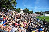 Fans watch from the embankment on day one of the international cricket test between the NZ Black Caps and Australia at Westpac Stadium, Wellington, New Zealand on Friday, 12 February 2016. Photo: Dave Lintott / lintottphoto.co.nz