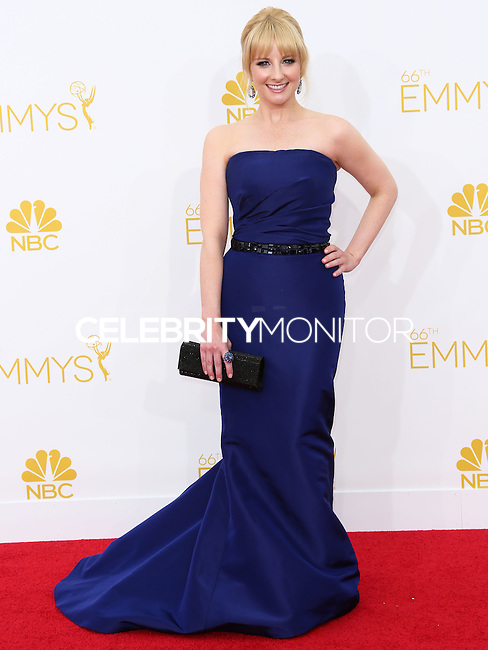 LOS ANGELES, CA, USA - AUGUST 25: Actress Melissa Rauch arrives at the 66th Annual Primetime Emmy Awards held at Nokia Theatre L.A. Live on August 25, 2014 in Los Angeles, California, United States. (Photo by Celebrity Monitor)
