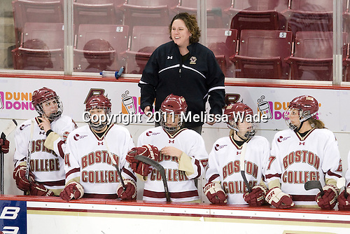 Jessica Martino (BC - 26), Meagan Mangene (BC - 24), Courtney Kennedy (BC - Assistant Coach), Alison Szlosek (BC - 8), Megan Shea (BC - 23), Laura Hart (BC - 27) - The Boston College Eagles defeated the Boston University Terriers 2-1 in the opening round of the Beanpot on Tuesday, February 8, 2011, at Conte Forum in Chestnut Hill, Massachusetts.