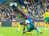 Crystal Palace Jordan Ayew during the Premier League match between Crystal Palace and Norwich City at Selhurst Park, London, England on 28 September 2019. Photo by Andrew Aleksiejczuk / PRiME Media Images.