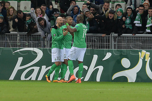18.02.2016. Saint Etienne, France. UEFA Europa League. Saint Etienne versus FC Basel.  Goal celebrations from Kevin Monnet Paquet and Renaud Cohade and Florentin Pogba (saint etienne)