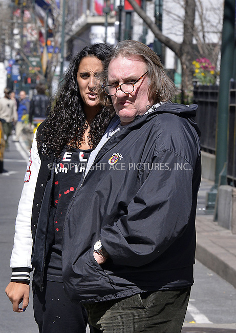 WWW.ACEPIXS.COM....April 5 2013, New York City....French actor Gérard Depardieu and his daughter Roxanne Depardieu walked around Midtown Manhattan on April 5 2013 in New York City....By Line: Curtis Means/ACE Pictures......ACE Pictures, Inc...tel: 646 769 0430..Email: info@acepixs.com..www.acepixs.com