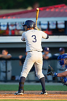 Enmanuel Paulino (3) of the Princeton Rays at bat against the Burlington Royals at Burlington Athletic Park on July 11, 2014 in Burlington, North Carolina.  The Rays defeated the Royals 5-3.  (Brian Westerholt/Four Seam Images)