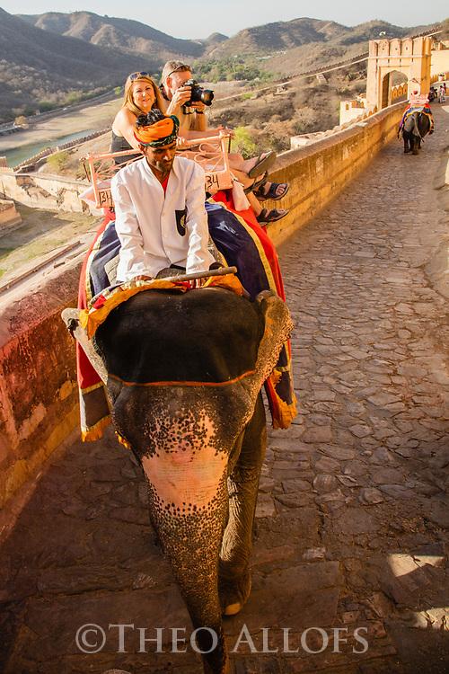 India, Jaipur, tourists riding on elephants up to the Jaipur Fort