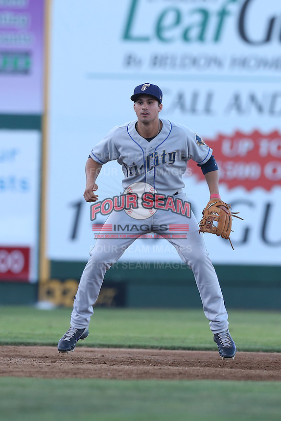 Josh Fuentes #2 of the Tri-City Dust Devils during a game against the Everett AquaSox at Everett Memorial Stadium on July 29, 2014 in Everett, Washington. Everett defeated Tri-City, 7-5. (Larry Goren/Four Seam Images)