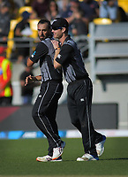 NZ's Jimmy Neesham (right) congratulates Daryl Mitchell on taking the final wicket. Twenty20 International cricket match between NZ Black Caps and England at Westpac Stadium in Wellington, New Zealand on Sunday, 3 November 2019. Photo: Dave Lintott / lintottphoto.co.nz