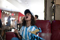 Oakland, CA - Wednesday, July 9, 2014: Santiago Cuba watched the Argentina-Netherlands semi-final World Cup match at Venga Paella.