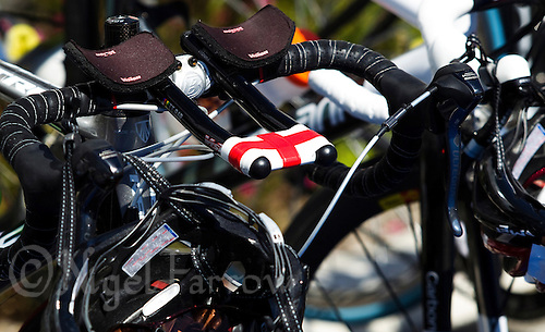 18 SEP 2010 - LA BAULE, FRA - Vicky Holland's English flag on her tri bars show her patriotism at the 2010 Womens French Club Championship Final (PHOTO (C) NIGEL FARROW)
