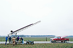 Dennis Lemot attaches his rocket to his launch platform   at an amateur rocket festival..Manchester, Tennessee.