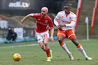 Charlton Athletic's Jonny Williams gets away from Blackpool's Donervon Daniels<br /> <br /> Photographer David Shipman/CameraSport<br /> <br /> The EFL Sky Bet League One - Charlton Athletic v Blackpool - Saturday 16th February 2019 - The Valley - London<br /> <br /> World Copyright © 2019 CameraSport. All rights reserved. 43 Linden Ave. Countesthorpe. Leicester. England. LE8 5PG - Tel: +44 (0) 116 277 4147 - admin@camerasport.com - www.camerasport.com