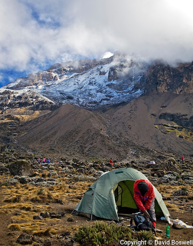 A climber on Kilimanjaro breaking camp at the third nights camp, Barranco, at 13,166 ft. (3950 m.).