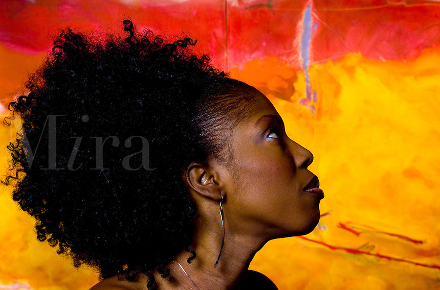 Profile portrait of Africa woman from Cameroon.