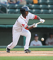 Outfielder Wilfredo Pichardo (2) of the Greenville Drive, Class A affiliate of the Boston Red Sox, at a game against the Rome Braves April 13, 2010, at Fluor Field at the West End in Greenville, S.C. Photo by: Tom Priddy/Four Seam Images